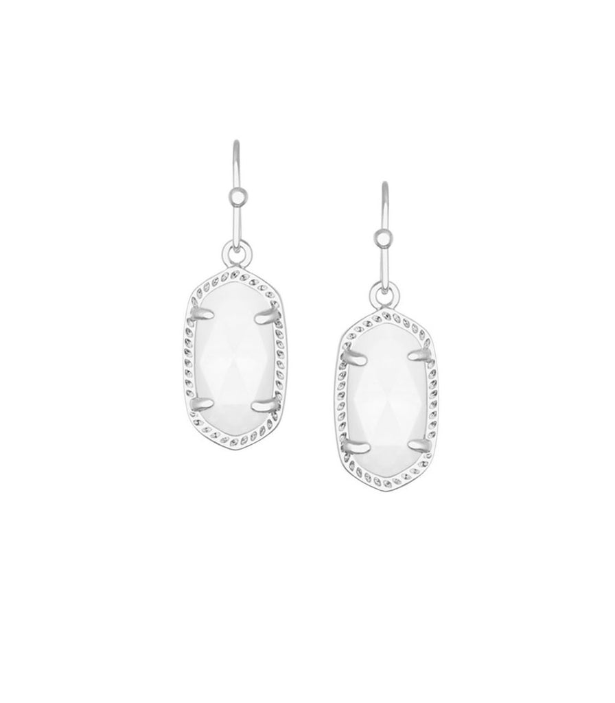 Kendra Scott Lee Silver Earrings in White Mother of Pearl