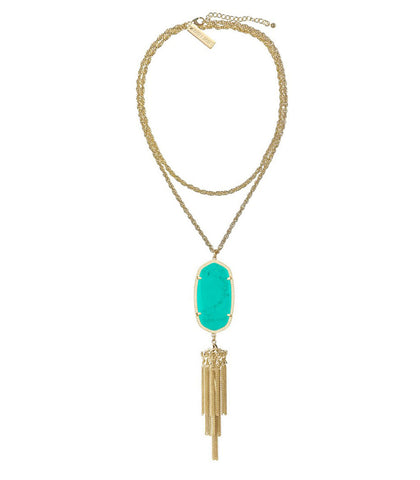 Kendra Scott Rayne Long Gold Necklace - Teal Magnesite 30 inch