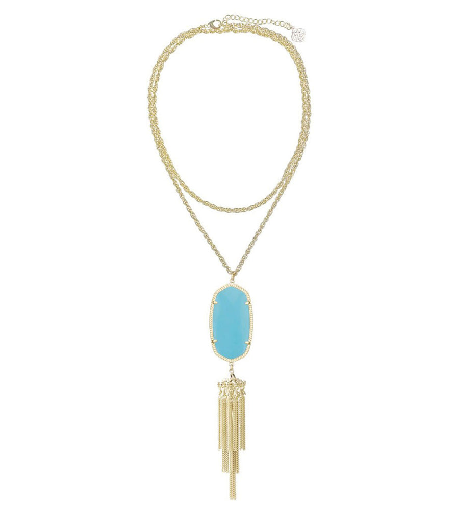 Kendra Scott Rayne Long Gold Necklace - Turquoise 30 inch