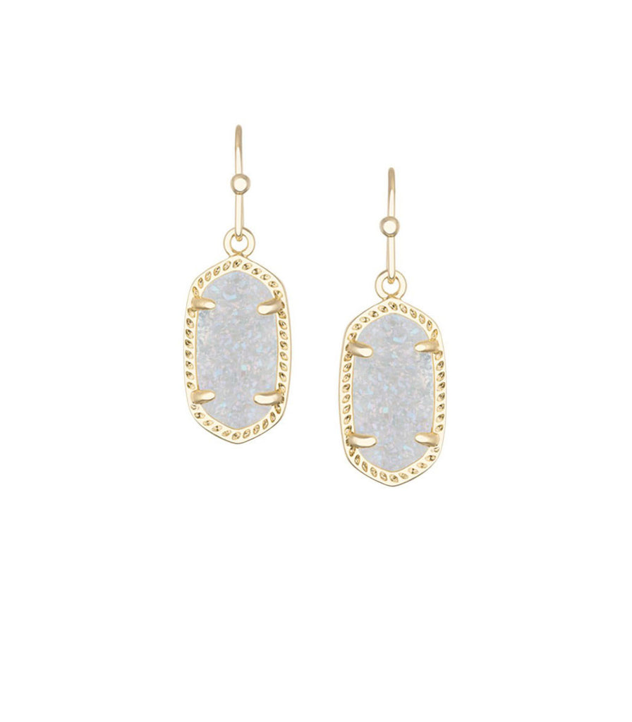 Kendra Scott Lee Gold Earrings in Iridescent Drusy 14K Gold Plated