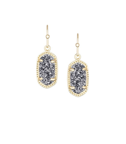 Kendra Scott Lee Gold Earrings in Platinum Drusy 14K Gold Plated
