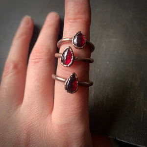 GARNET RING, VARIOUS SIZES