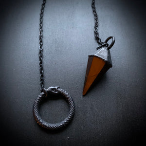 Ouroboros Lariat Pendulum Necklace - You Choose Stone