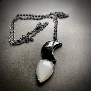 CRESCENT MOON OBSIDIAN + MOONSTONE