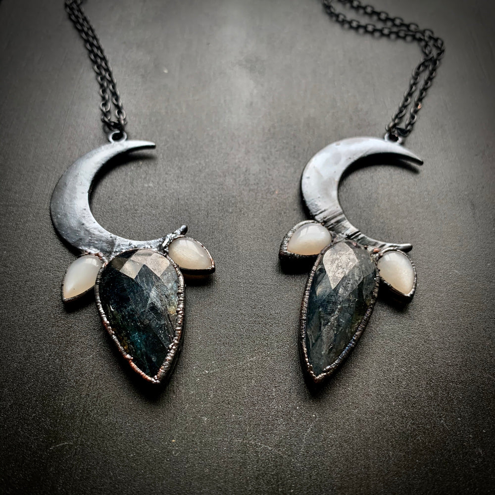 CRESCENT MOON | Moonstone + Moss Kyanite