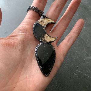 PALM ROOT CRESCENT MOON + BLACK TOURMALINE #1