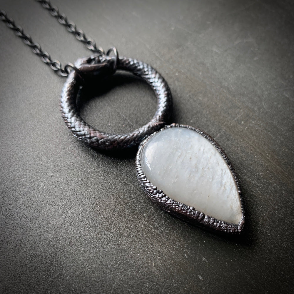 Load image into Gallery viewer, Ouroboros Moonstone Talisman