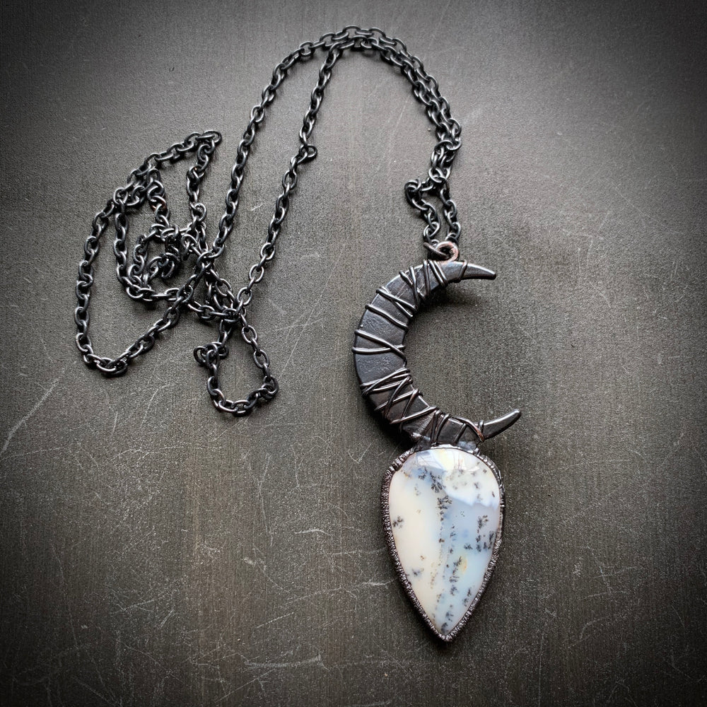Load image into Gallery viewer, DOOM WITCH Crescent Moon Dendrite Opal Talisman