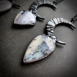DOOM WITCH Crescent Moon Dendrite Opal Talisman