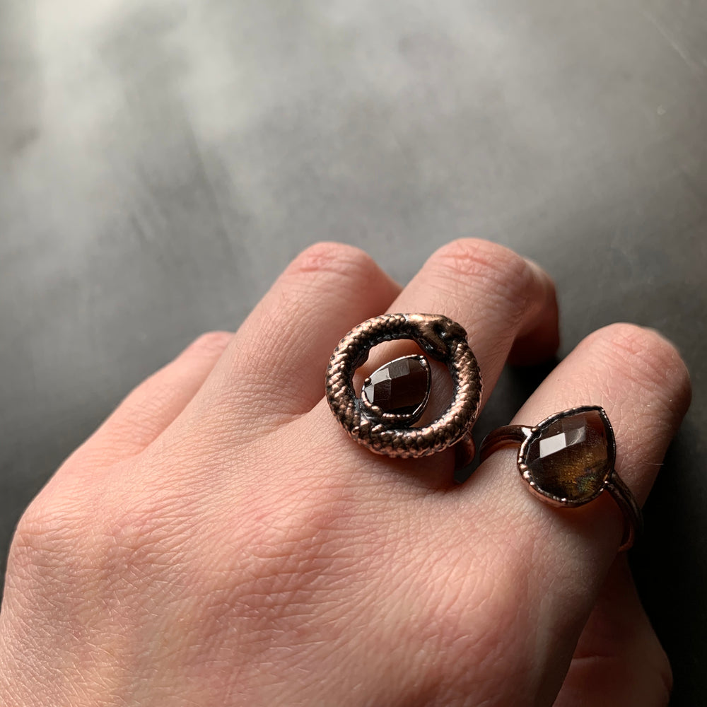 OUROBOROS SMOKY QUARTZ RING, SIZE 6