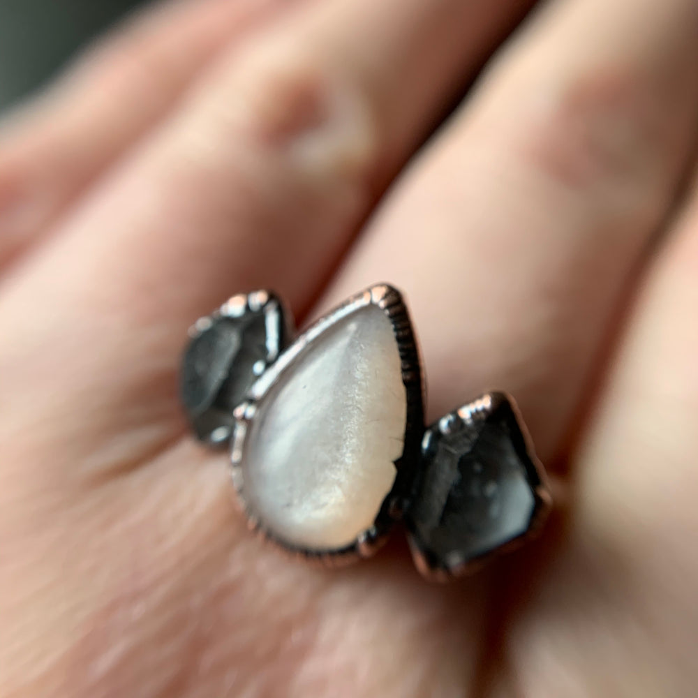MOONSTONE + HERKIMER DIAMOND RING, SIZE 7.75