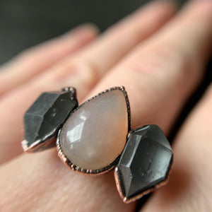 MOONSTONE + HERKIMER DIAMOND RING, SIZE 7.5