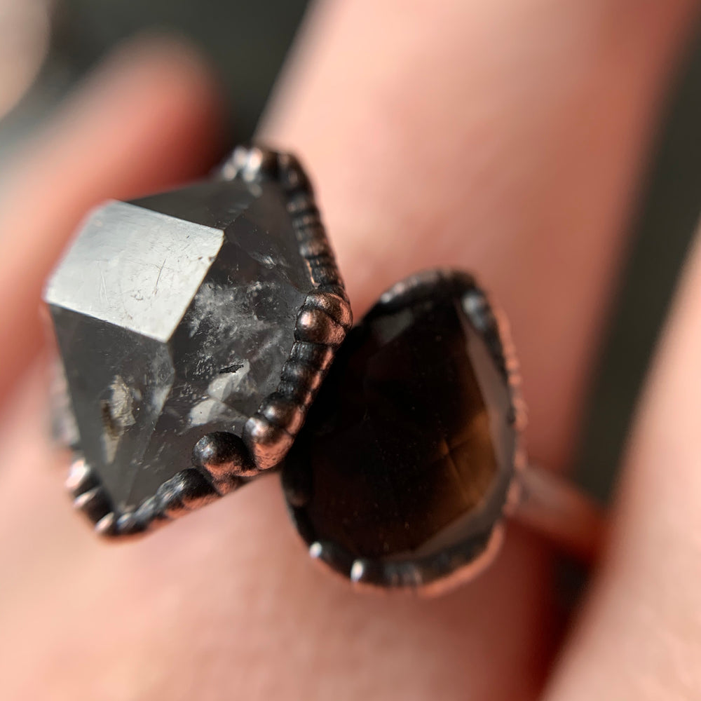 HERKIMER DIAMOND + SMOKY QUARTZ RING, SIZE 9.25