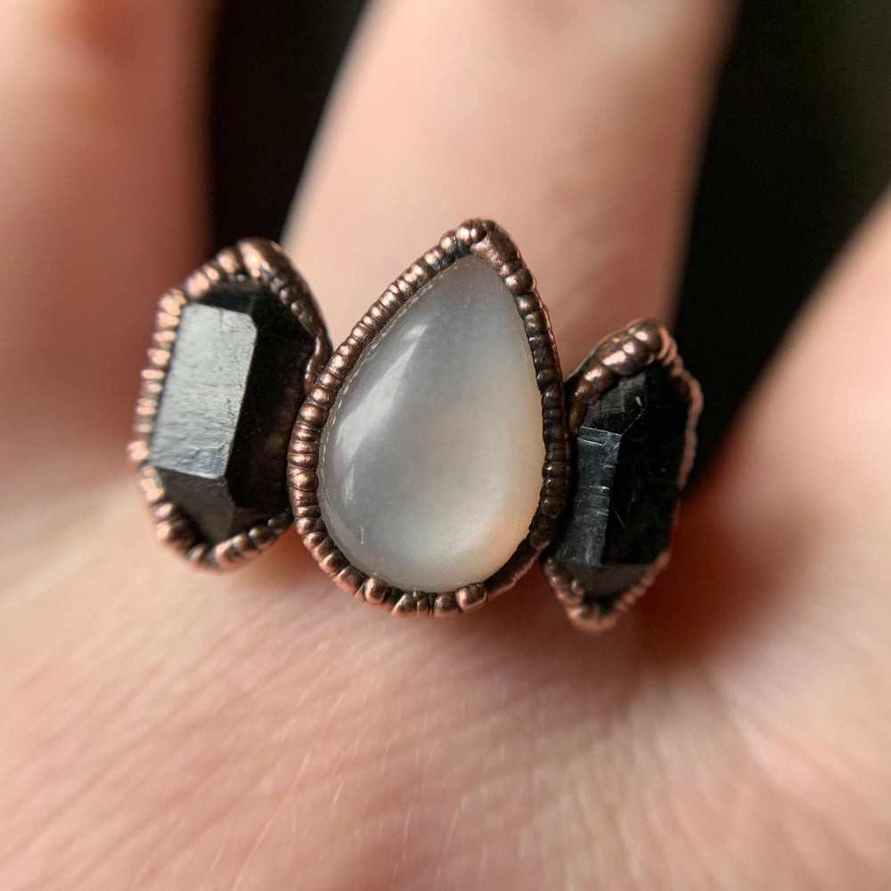 Load image into Gallery viewer, MOONSTONE + HERKIMER DIAMOND RING, SIZE 6