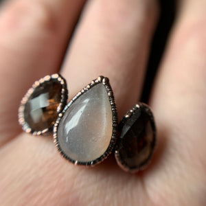 MOONSTONE + SMOKY QUARTZ RING