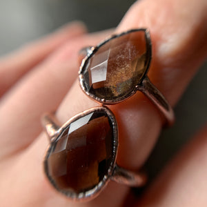 SMOKY QUARTZ RING, SIZE 6