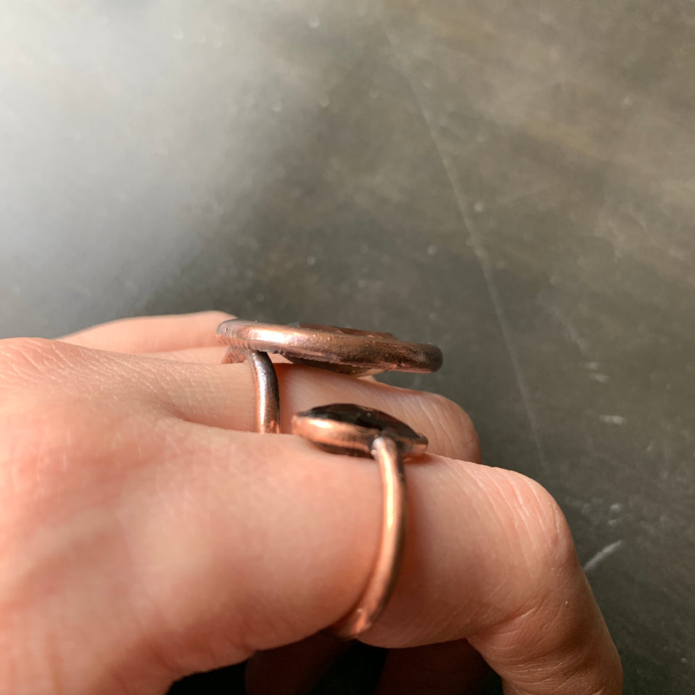 CRESCENT MOON + SMOKY QUARTZ RING, VARIOUS SIZES