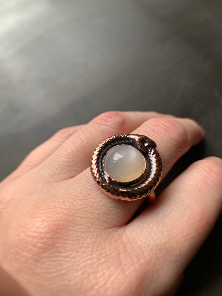 Load image into Gallery viewer, OUROBOROS MOONSTONE RING, VARIOUS SIZES