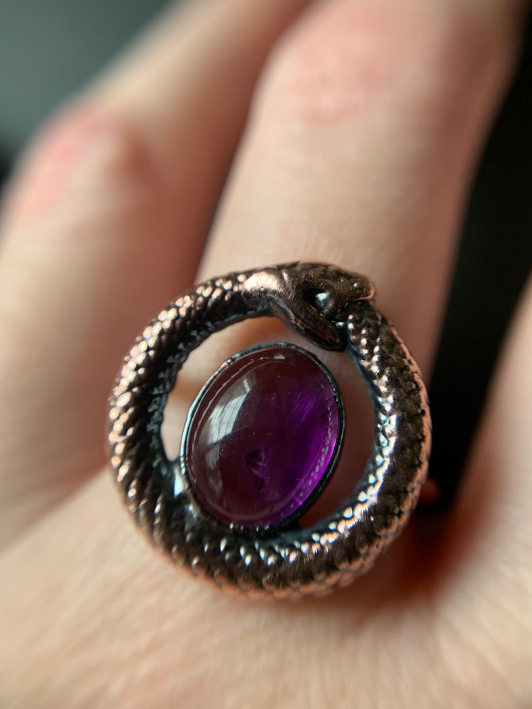 OUROBOROS AMETHYST RING, SIZE 8