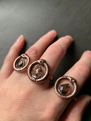 Load image into Gallery viewer, OUROBOROS SMOKY QUARTZ RING, VARIOUS SIZES
