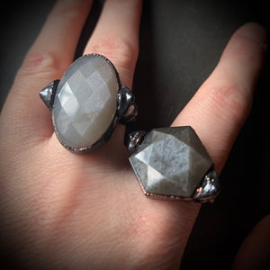 DARK WOODS MOONSTONE RING, SIZE 7.5