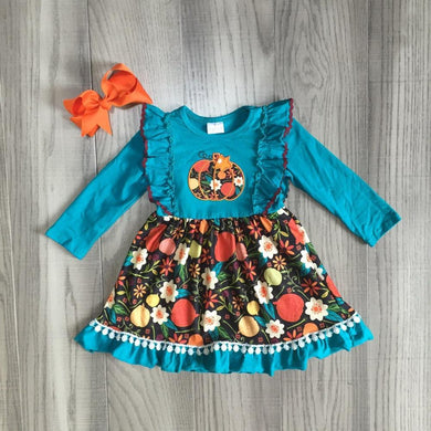 Floral Pumpkin Ruffle Dress with Bow