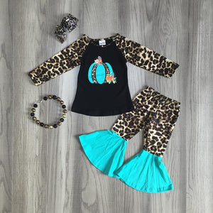 Leopard and Teal Autumn Bells Set