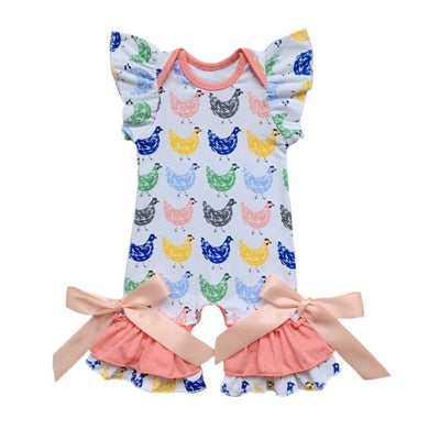 Colorful Hen Flutter Sleeve Romper