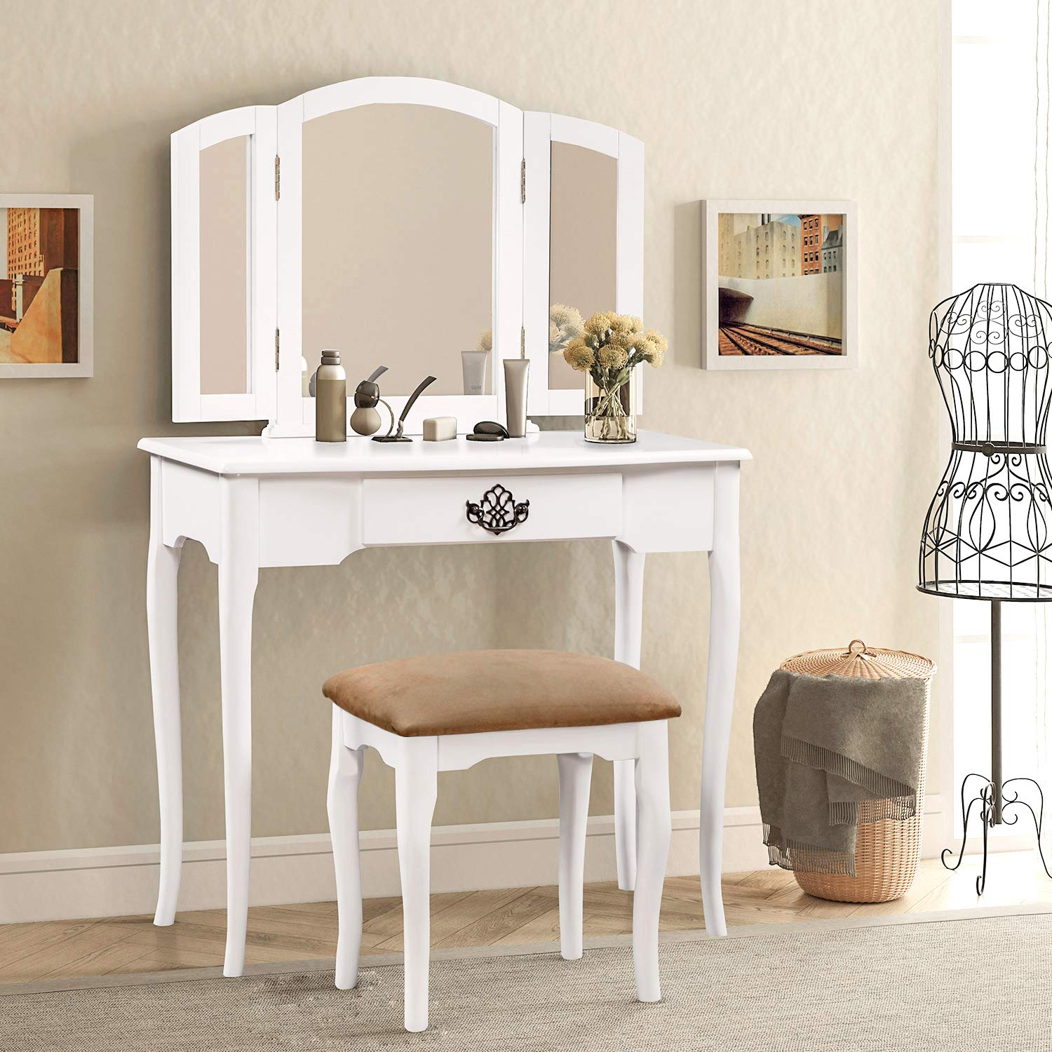 CAMANDE Vanity Set Make-up Dressing Table with Mirror and Cushioned Stool (White)