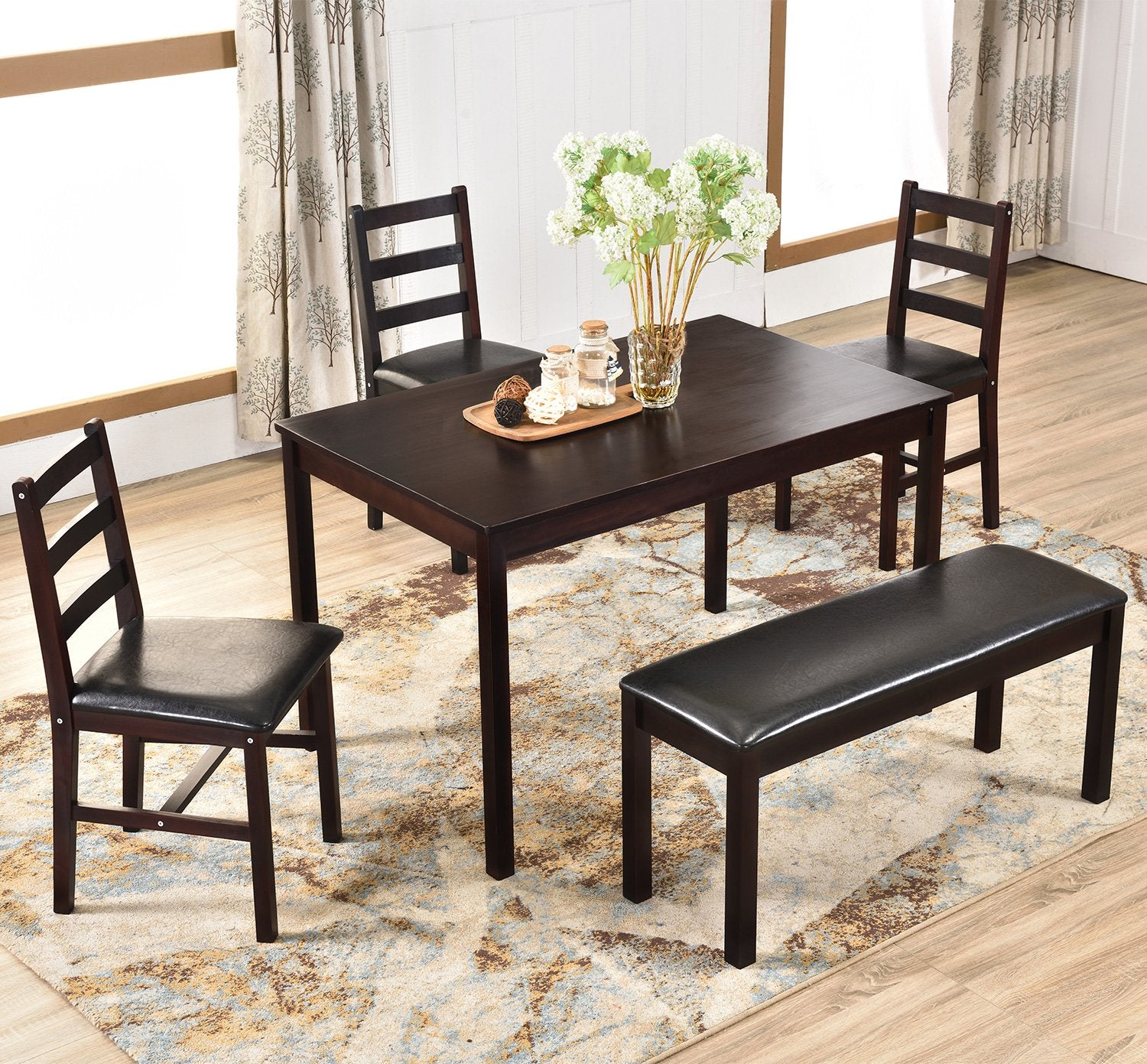 Camande Designs 5 Piece Dining Table Set, Solid Wood Kitchen Table Set