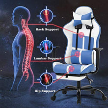 Camande Ergonomic Office Chair PC Gaming Chair PU Leather Computer Chair Lumbar Support with Footrest Modern Task Rolling Swivel Chair (White)