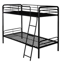 Camande Twin-Over-Twin Metal Bunk Bed with Ladder, Multifunctional Design, Space Saving (black)