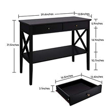 Console Sofa Table Classic X Design with 2 Drawers, Entryway Hall Table, Sofa Tables Narrow Easy Assembly - Black