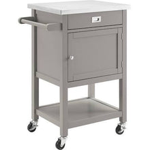 Kitchen Island Cart �Light Green with Stainless Steel Top