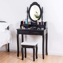 Vanity Set with Stool,4 Drawers, Room Dresser Desk Vanity Oval Mirror and Padded Vanity Stool,  for Bedroom Vanities( Black)