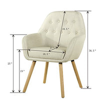 Contemporary Stylish Button-Tufted Upholstered Accent Chair with Solid Wood Legs (Beige)
