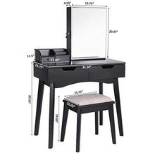 Makeup Vanity Set, Lockable Jewelry Cabinet with Mirror, Makeup Organizer, Cushioned Stool, 2 Sliding Drawers Vanity Desk Dressing Table Black FST04H