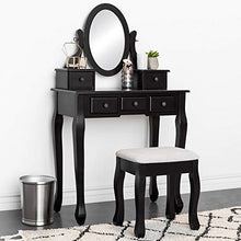 Bedroom Makeup Cosmetic Beauty Vanity Hair Dressing Table Set w/ Adjustable Oval Mirror, Padded Stool Seat, 5 Drawer Storage Organizers - Black