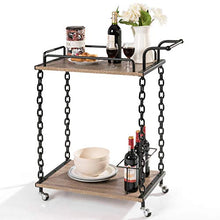 Bar Cart 2-Tier Chain Style Serving,Handle and 3 Wine Bottle Racks, Universal Caster Wheels  for Kitchen or Home Use Wine Cart (Brown)