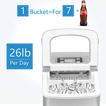 Portable Ice Making Machine with Timer -Bullet Ice Cubes Ready in 6 Mins - Makes 26 lbs Ice in 24 hrs , LCD Display & Ice Scoop & Bucket(Red)