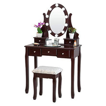 FB-VT21-BK Dressing Table with Stool and LED Lights with 5 Drawers and Mirror, Black