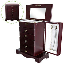 Wooden Jewelry Treasure Armorie Cabinet Chest Storage Box Organizer Drawer with Mirror Brown Large