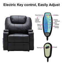 Recliner Chair with Electric Lift Power, Ergonomic Leather Massage Sofa with Remote Control, 5 Heat & Massage Modes, Side Pockets, Cup Hold