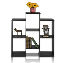 Parsons Staggered Cube Bookcase with 6 Shelves, Black