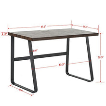 Vintage Computer Desk, Wood and Metal Writing Desk, PC Laptop Home Office Study Table, Espresso 55 inch