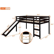 Twin Loft Bed with Slide for Kids/Toddlers, Wood Low Sturdy Loft Bed, No Box Spring Needed, Espresso