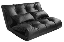 Pu Leather Foldable Modern Leisure Bed Video Gaming Sofa with Two Pillows, Black