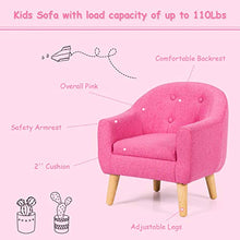 Kids Accent Leisure Sofa, Upholstered Armrest Chair with Adjustable Foots, Princess Sofa with Deep Powder and Bottons Design,Prefect for Girls