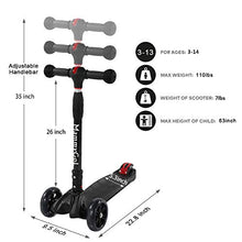MammyGol Kick Scooter for Kids 3 Wheels Scooter,4 Adjustable Height, Lean to Steer with 3 LED Light Up Wheels for Children Age from 3 to 12