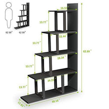 5-Shelf Ladder Corner Bookshelf, Modern Simplism Style 63 '' H x 12 '' W x 40 ''L, Made of Steel and Wood, for Living Room or Hallway (Black.)
